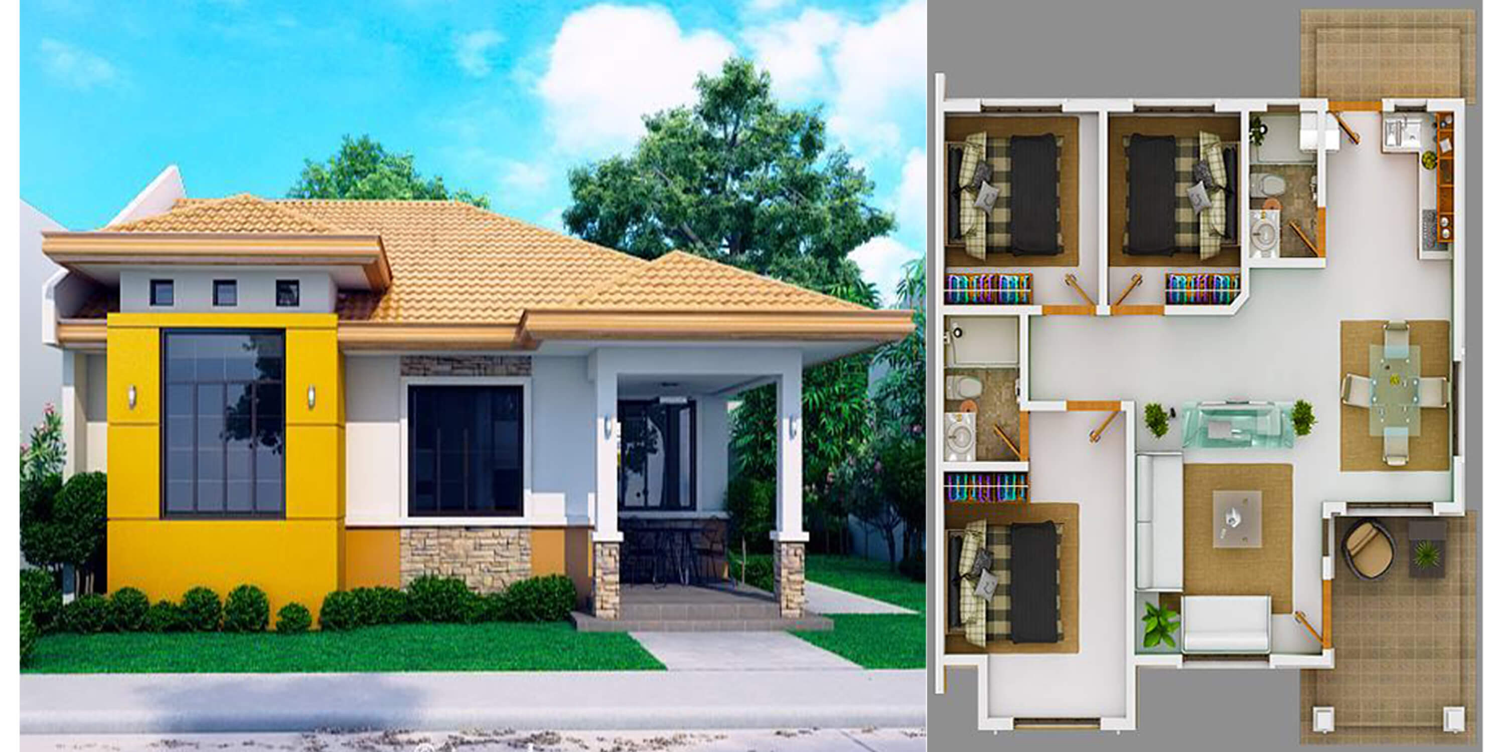 Modern Bungalow House With 3D Floor Plans And Firewall ...