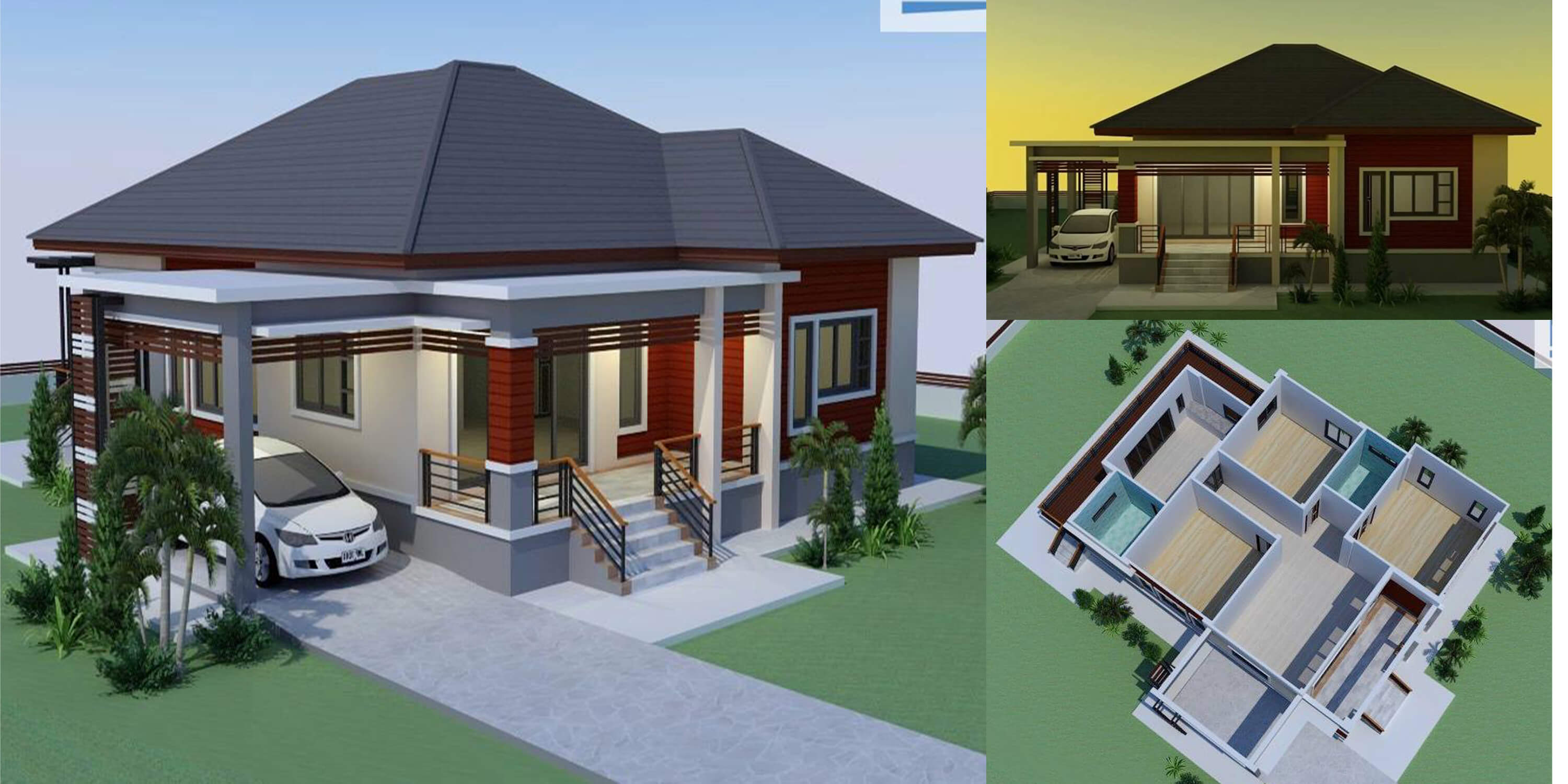 Single storey house modern tropical 3 bedrooms bathrooms
