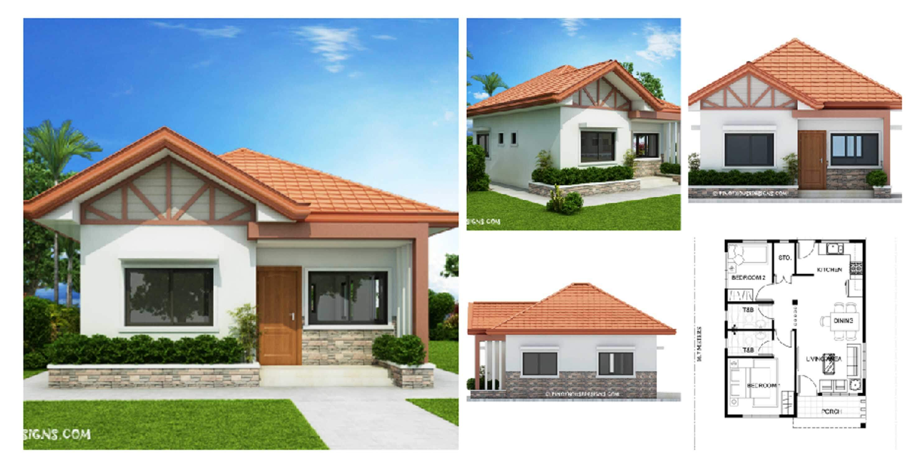 Two Bedroom Small House Design (PHD-2017035) - Engineering ...