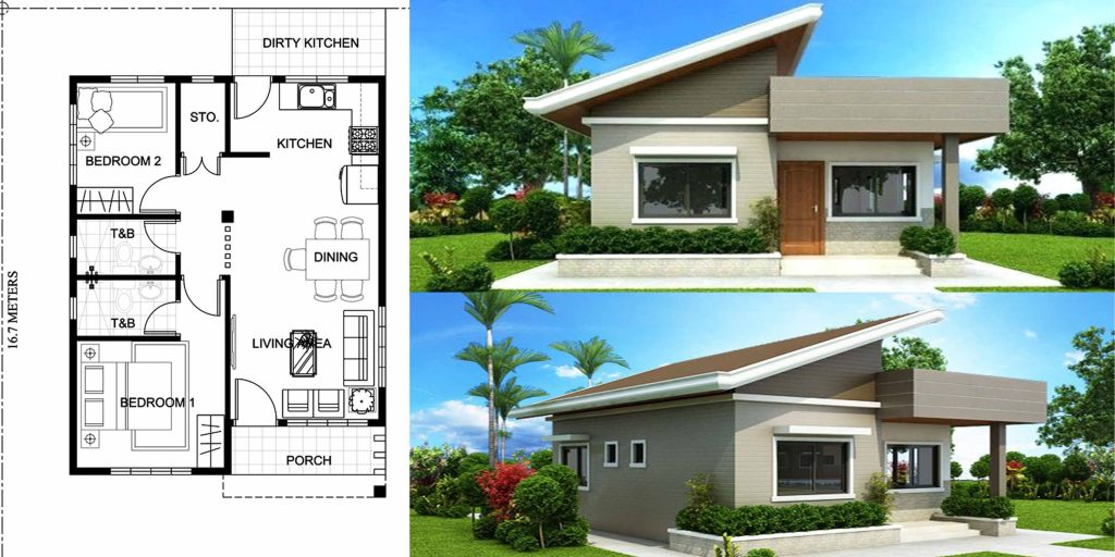 Unique modern house design with 2 bedroom engineering for House design online