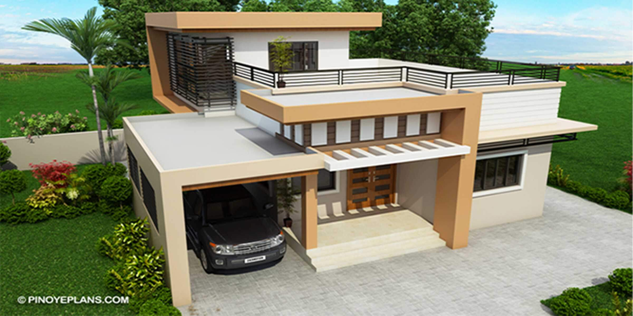 Kassandra Two Storey House Design With Roof Deck Engineering