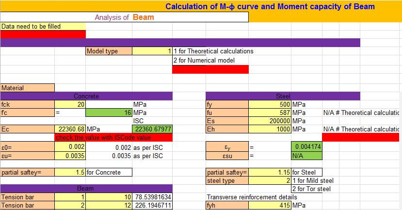 Capacity Calculations Of Structural Members Excel Sheet