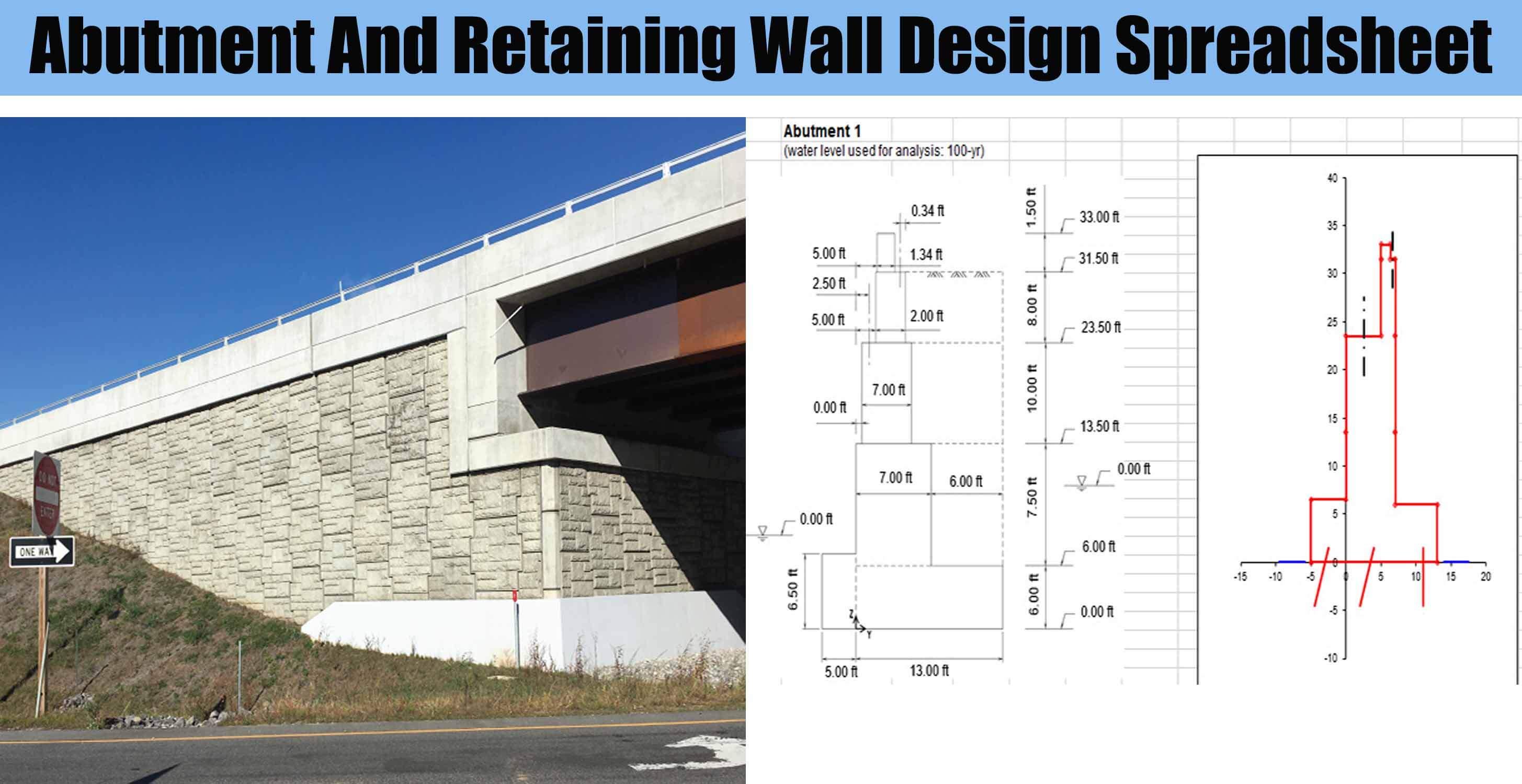 Abutment And Retaining Wall Design Spreadsheet - Engineering