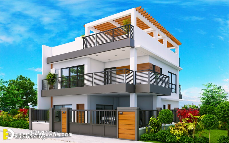 MHD 2012007 Design2 View03 - View Simple Small Two Storey House Plans With Balcony Background