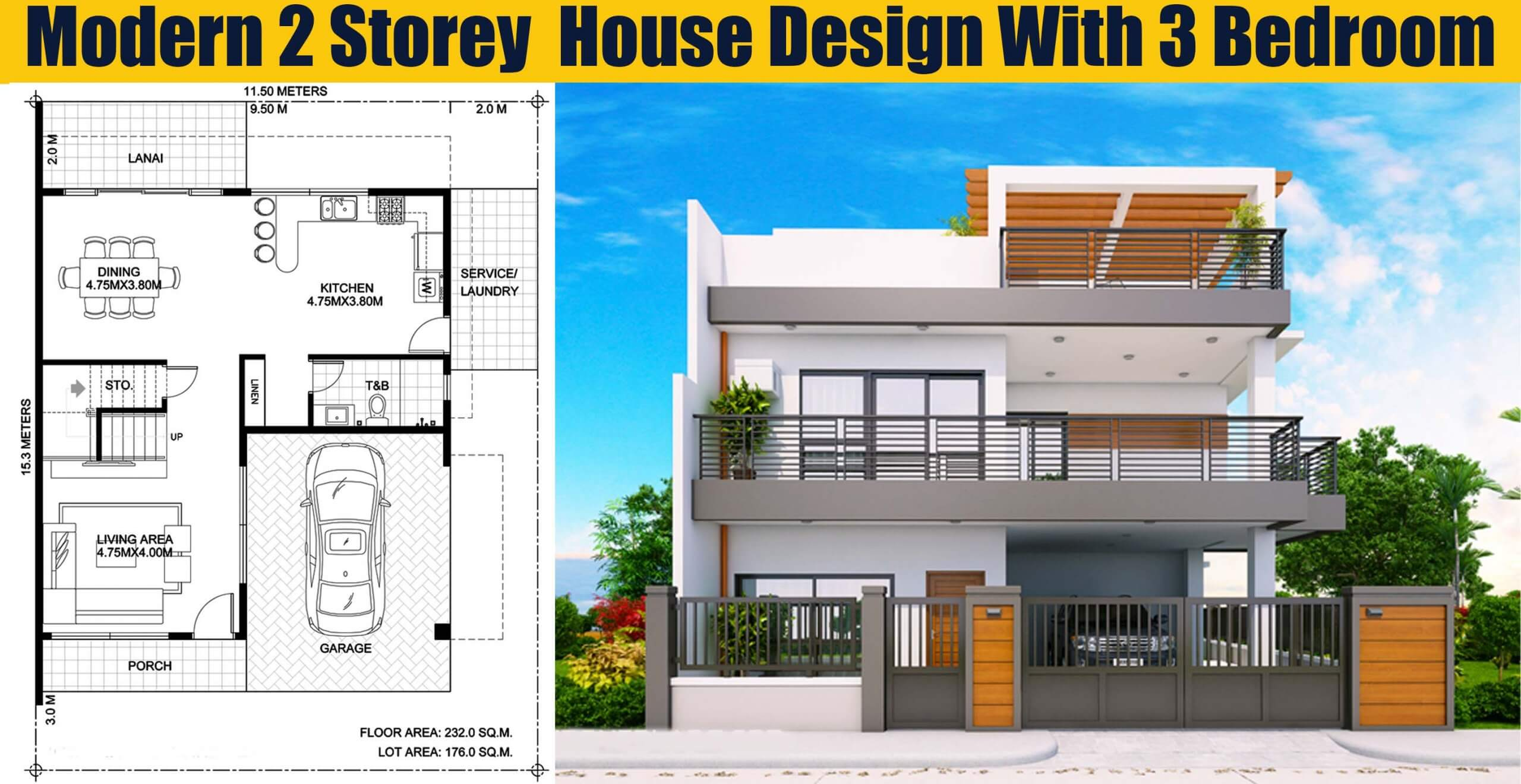 Modern 2 Storey House Design With 3 Bedroom - Engineering ...